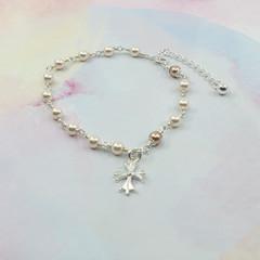Rosary Bracelet -- Pearl Rose -- Sterling Silver