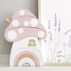 Hand painted Wooden DUSKY PINK Toadstool House stacker with Rainbow Door.