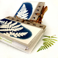 Tiny Handmade Notebook set of 2 - botanical artwork covers
