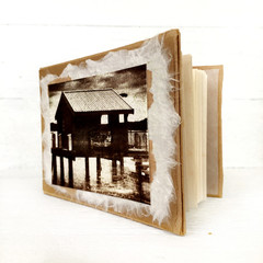 Handmade notebook with handmade paper and original salt print artwork