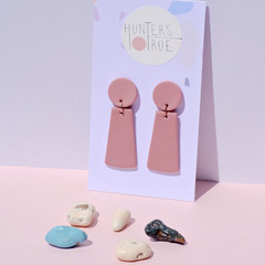 Pink Clay Statement Dangles