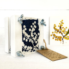 Mini Flower Press decorated with Cyanotype Art of Australian Wattle