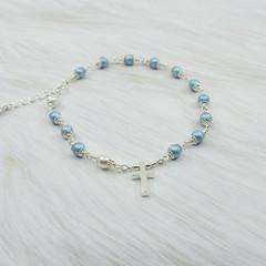 Rosary Bracelet -- Iridescent Light Blue -- Sterling Silver