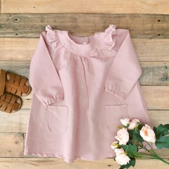 Girls Linen Light Pink Ruffle Dress Size 0 - 3 M & 9 - 12 M