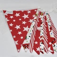 Christmas Fabric Bunting Santa & Stripes