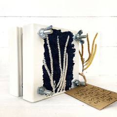 Handmade Mini Flower Press with Botanical Cyanotype Art of  Australian Wattle