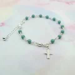 Rosary Bracelet -- Pearl Jade -- Sterling Silver