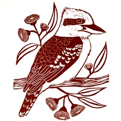 Laughing Kookaburra Linocut Original Artwork / Australian Bird Print Rust