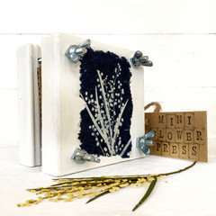 Handmade Mini Flower Press with Botanical Cyanotype Art of  Native Wattle