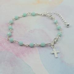 Rosary Bracelet -- Mint -- Sterling Silver