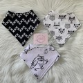 Bandana dribble bibs, set of 3, woodlands, foxes, deer, boys gift, grey combo