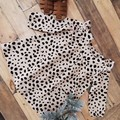 Girls Linen Animal Print Ruffle Dress Size 6 - 9 M and 9 - 12 M