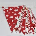 Christmas Fabric Bunting Santa & Stripes
