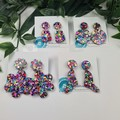 Rainbow Pop Dangle Stud Drop - Button - Glitter Dangle earrings - VARIOUS