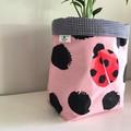 Large fabric planter | Storage basket | Pot cover | LADYBUGS