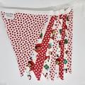Christmas Fabric Bunting Santa & Stars