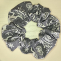 Grey with White Christmas Pattern Scrunchy