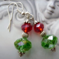 red and green crystal bead EARRINGS with silvertone  drop earring