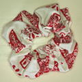 White with Red Christmas Pattern Scrunchy