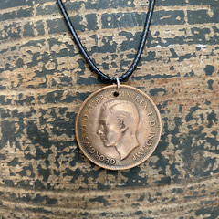 "Australian Penny Necklace. 17"" waxed cord"