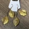 Long Double Gold Leaf Earrings