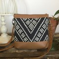Jasmine Crossbody Bag - Black & White Dot/Tan Faux Leather