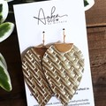 Basket Weave Leaf, Genuine Leather Earrings. Gold