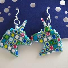 Turquoise and muli coloured Unicorn earrings