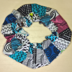 Colourful Squares Scrunchy