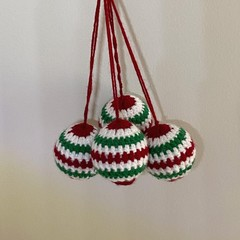 Stripy Christmas Baubles 4 pack