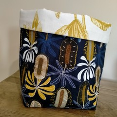 Fabric Basket Australian Banksia Flowers