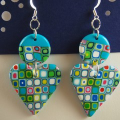 Turquoise Blue base. multi colour heart dangle earrings