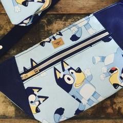 Hip/waist/bum Bag - Blue Dog/Navy Faux Leather
