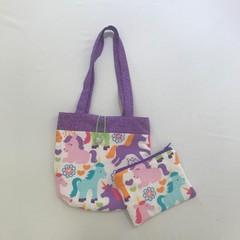 Rainbow unicorn handbag and purse