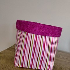 Fabric Basket White and Pink Stripe