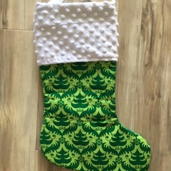 Personalised Christmas Stocking - Green trees