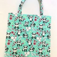 Mint green pandas library/shopping bag