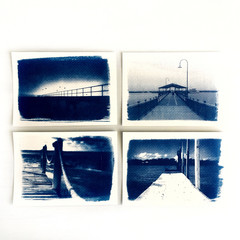 Original Cyanotypes, Set of Four Jetty Prints, Coastal Decor