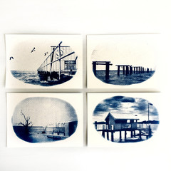 Original Cyanotypes, Set of Four Coastal Prints, Nautical Decor