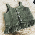 KHAKI BUTTON FRILL TOP, sz 1 - 4 available
