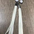 Super long white tassel earrings