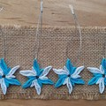 Set of 4 Bright Blue and White Quilled Tree Decorations