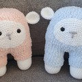 "Handmade Crochet Fluffy Sheep Toy ""Pinky"""
