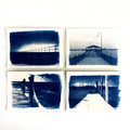 Original Cyanotypes, Set of Four Jetty Prints, Coastal Decor