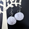 Silver Plated Fluffy Musical Notes Drop Earrings