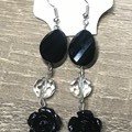 Black Rose  Beaded long earrings