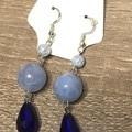 Blue Beaded long earrings