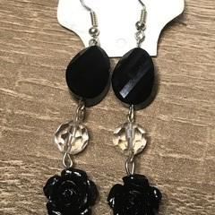 Black Beaded long earrings