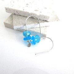 Sally blue sea glass and crystal earrings