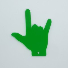 """I Love You"" hand gesture Keyring - Acrylic Green"